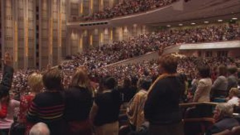 LDS Members gather in the Conference Center in SLC as well as in Church buildings and member homes around the globe, via satellite and cable transmission.