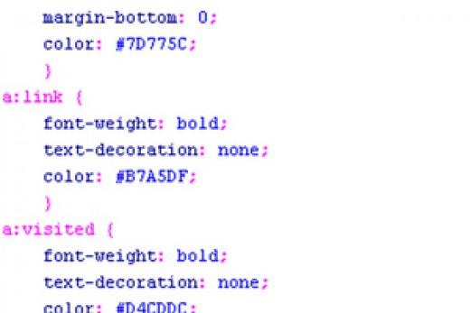 Screenshot of a CSS code
