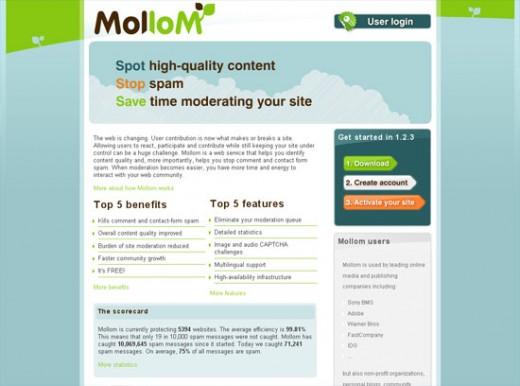 The Mollom Website