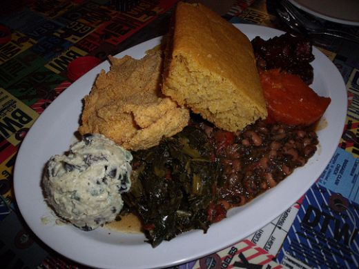 Soul Food Plate.  Counterclockwise:  potato salad, collard greens, blackeyed peas, yams, BBQ tofu, cornbread, Southern fried tofu.