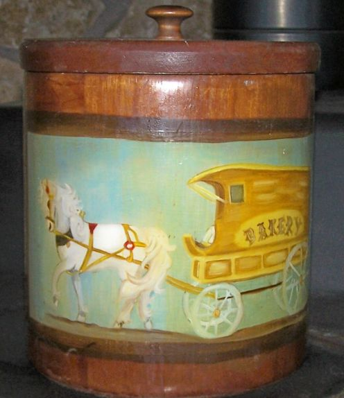 View 1 of wooden cookie jar, decorative or tole painting with dark wood stain and varnish.