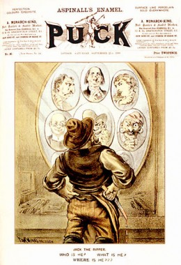 The cover of the September 21, 1889, issue of Puck magazine, featuring cartoonist Tom Merry's depiction of the unidentified Whitechapel murderer Jack the Ripper