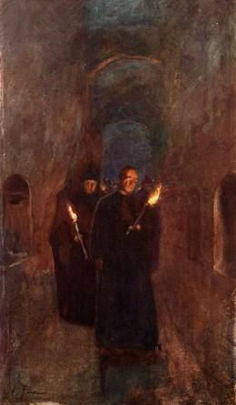 A procession in the catacomb of Callistus.