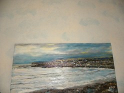 Ocean walls above an ocean painting of mine.