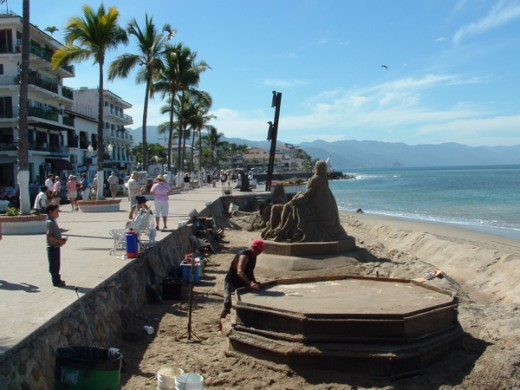 Sand Castle Building on the Malecon