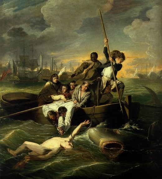 """WATSON AND THE SHARK"" BY JOHN SINGLETON COPLEY (1778) MUSEUM OF FINE ARTS, BOSTON"