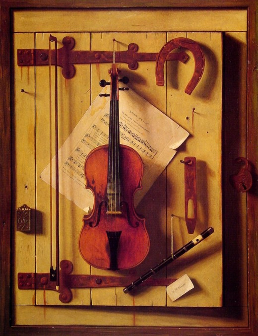 """MUSIC AND GOOD LUCK"" OR ""STILL LIFE WITH VIOLIN AND MUSIC"" BY WILLIAM MICHAEL HARNETT (1888)"