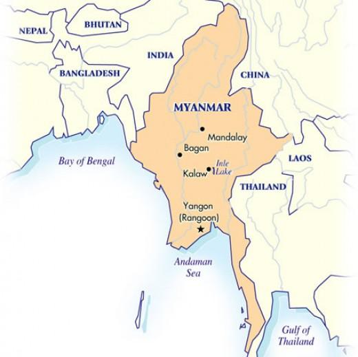 THE MAP OF BURMA (now MYANMAR or UNION of MYANMAR)