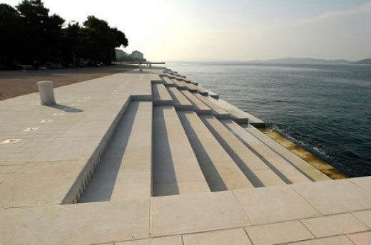 White concrete steps of the Sea Organ in Zadar.