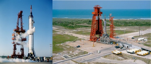 Comparison of Mercury-Redstone and Atlas-D launch complexes. Photos courtesy of NASA.