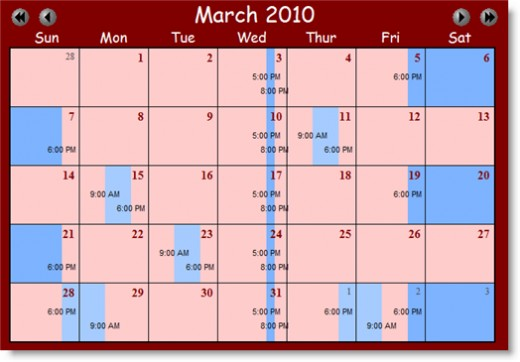 A custody calendar with all the time filled out.