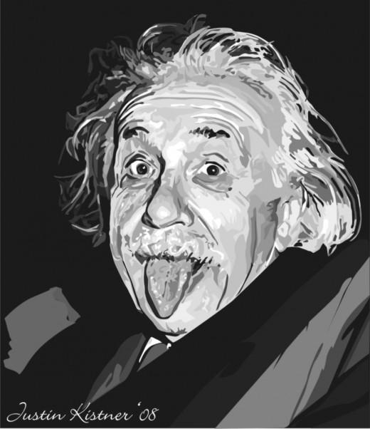 Albert Einstein vectored art. Hand vectored in Corel.