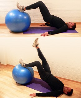 Arms along body - legs on gym ball - buttocks off floor - feet as high as possible - elevation of pelvis