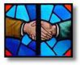 colorful stain glass with handshake
