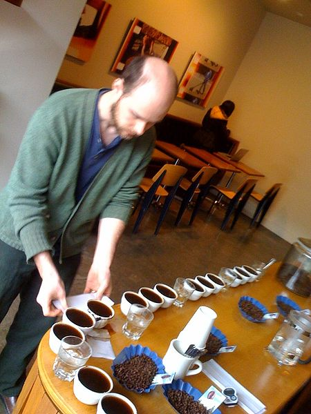 One of the daily coffee cuppings at the Stumptown Coffee Annex in Southeast Portland, Oregon.  by david Burn