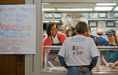 First Lady Michelle Obama at Miriams Kitchen, a non-profit that provides healthy meals to the homeless in DC (all images on this page in the public domain)