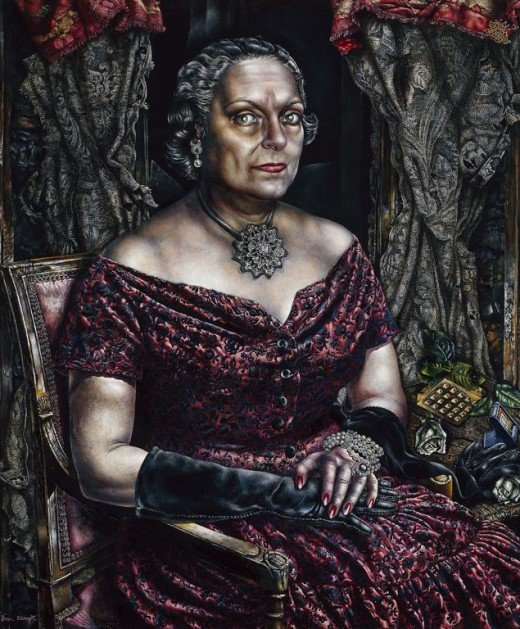 """PORTRAIT OF MARY BLOCK"" BY IVAN ALBRIGHT (1957)"