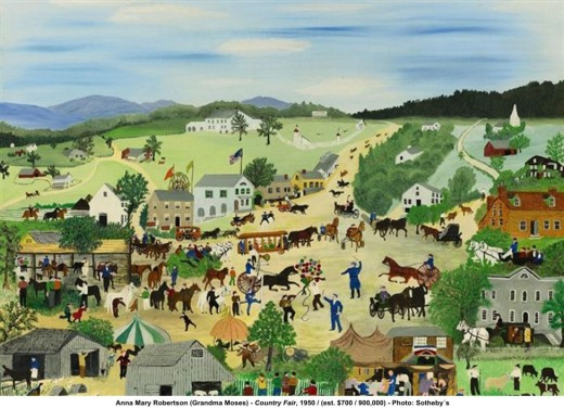 """COUNTRY FAIR"" BY GRANDMA MOSES (1950)"