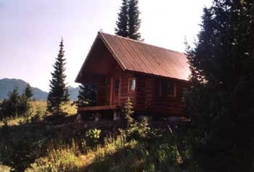 A 14' X 18' Trapper cabin in Bozeman built by Montana Mobile Cabins.