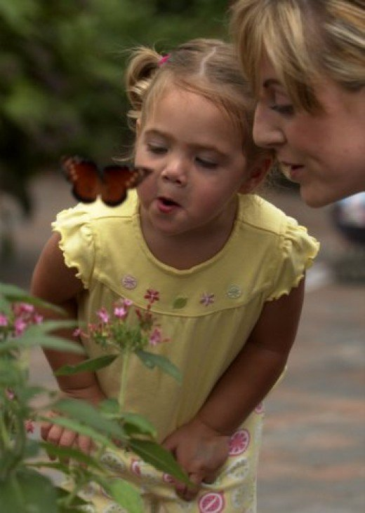 girl with her mom and a butterfly