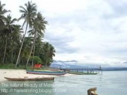 White sandy beach of Mansinam island in West Papua