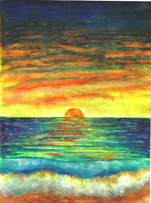 Sunset in Maine, a watercolor by Justin after a relaxing trip to the east coast.