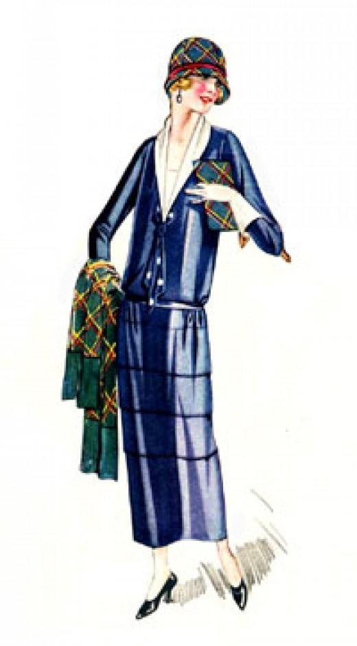 Blue 1920s flapper dress