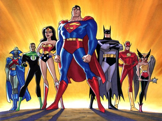 the justice league including superman the green lantern, batman