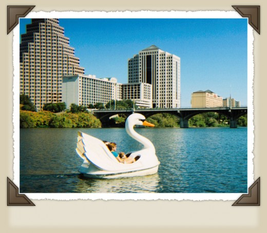 Texas attractions - Swan paddle boats on Lady Bird Lake
