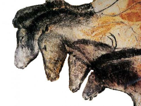 Grotte Chauvet horses. These look very much like a middle school science fair project I did (I had not seen the cave painting).
