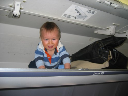 No, You Can't Really Stow Your Baby in the Overhead Compartment.