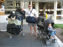 Authentic Father Outside Airport Parking Garage with Two Actual Children