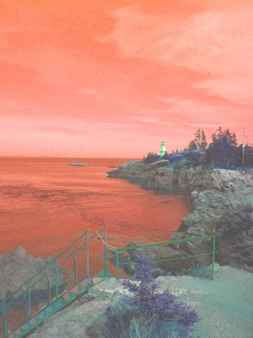 A shot of the East Quoddy Head Lighthouse that I also had some fun with. I call it Sailors Delight (red sky).