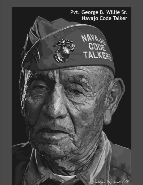 Pvt. George B. Willie Sr. Navajo Code Talker. Vectored art was done by Justin and is the most detailed vector he's done so far.