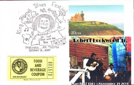 My tribute to blues legend Robert Lockwood Jr. who I had the pleasure of seeing many times and got to meet him shortly before he passed away. This is a postal cancelation from the King Biscut Blues Festival along with a food ticket and a photo from t