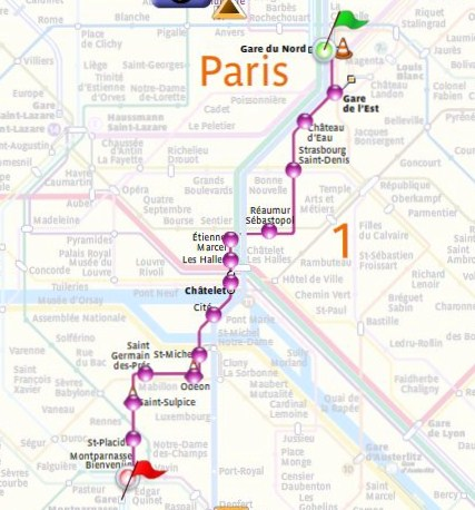 Paris Metro - route. Marked from Gare de Nord to Gare Montparnasse.