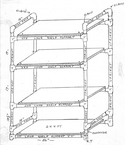 Use this detailed illustration to construct your own lighted plant stand