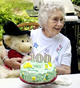 Elizabeth Barrow celebrating her 100th birthday on Aug 21, 2009.  She was strangled to death with a plastic bag in her bed in Brandon Woods Nursing