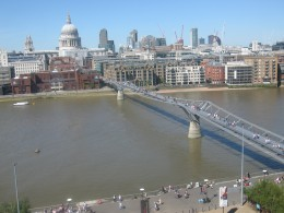 View of St. Paul Cathedral and the Millennium Bridge from Tate Modern