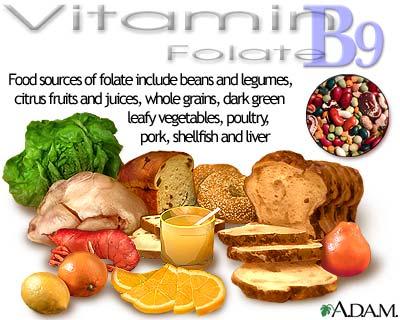 Food sources of folic acid