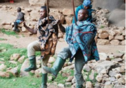 Mohobelo, traditional dancing of the Basotho people in south Afric