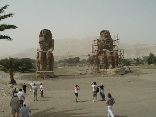 The Statues of Memnon on the West Bank...all that is remaining of the Funerary temple of Amenhotep III