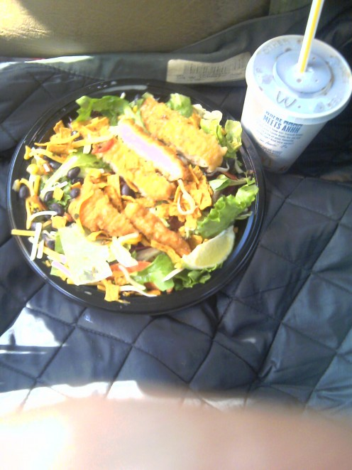 Southwest Salad with Crispy Chicken best salad I've enjoyed in a long time! Calories 430 and totaled out at $6.14.