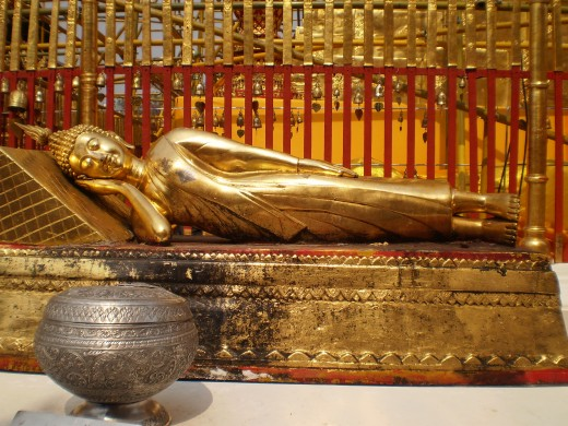 Sleeping Buddha inside Doi Suthep, Chiang Mai.