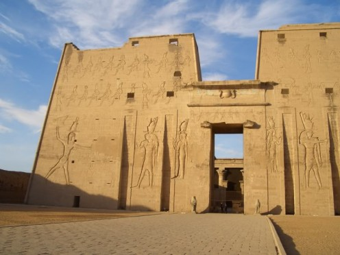 The magnificent entrance to Edfu