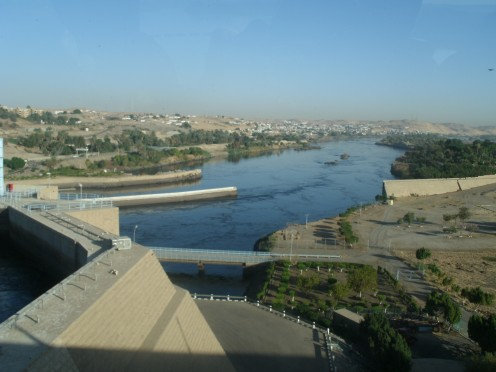 A view of the Aswan dam and the Nile beyond