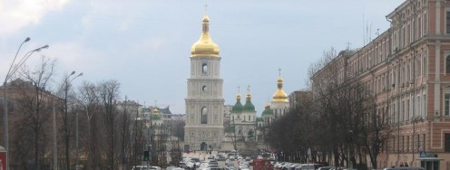 Looking towards St. Sophia's along Volodymyrska Street.