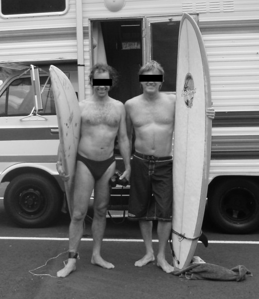 Pair of feral surfers. Note The budgies on the patient on the left with the dinged board.