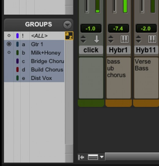 Pro Tools 8 Mix Group in Regions Menu