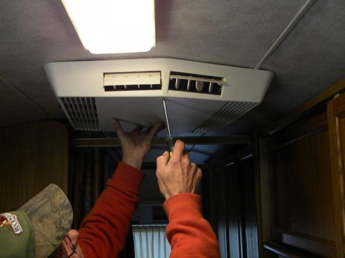 Remove the old RV AC ceiling assembly